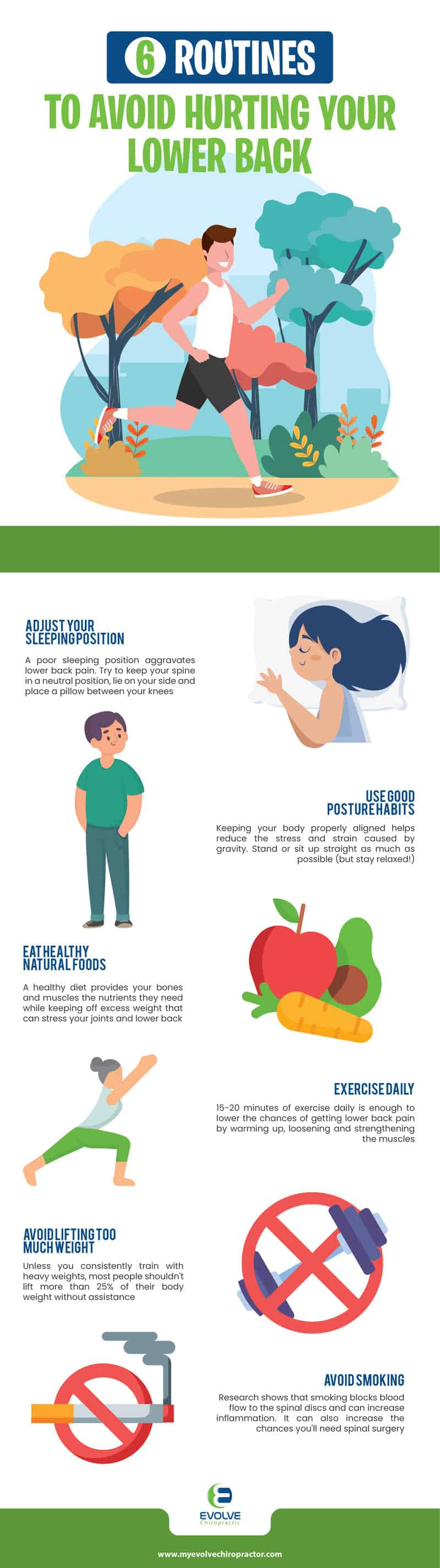 6 daily routines to prevent low back pain infographic